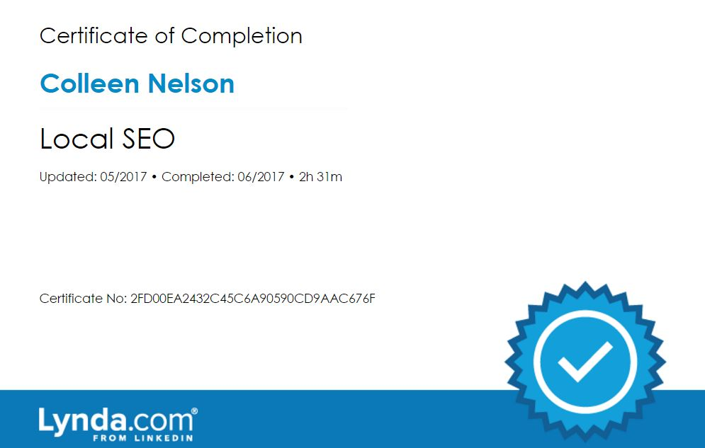 Check out my recent education certificates in website / social media / marketing